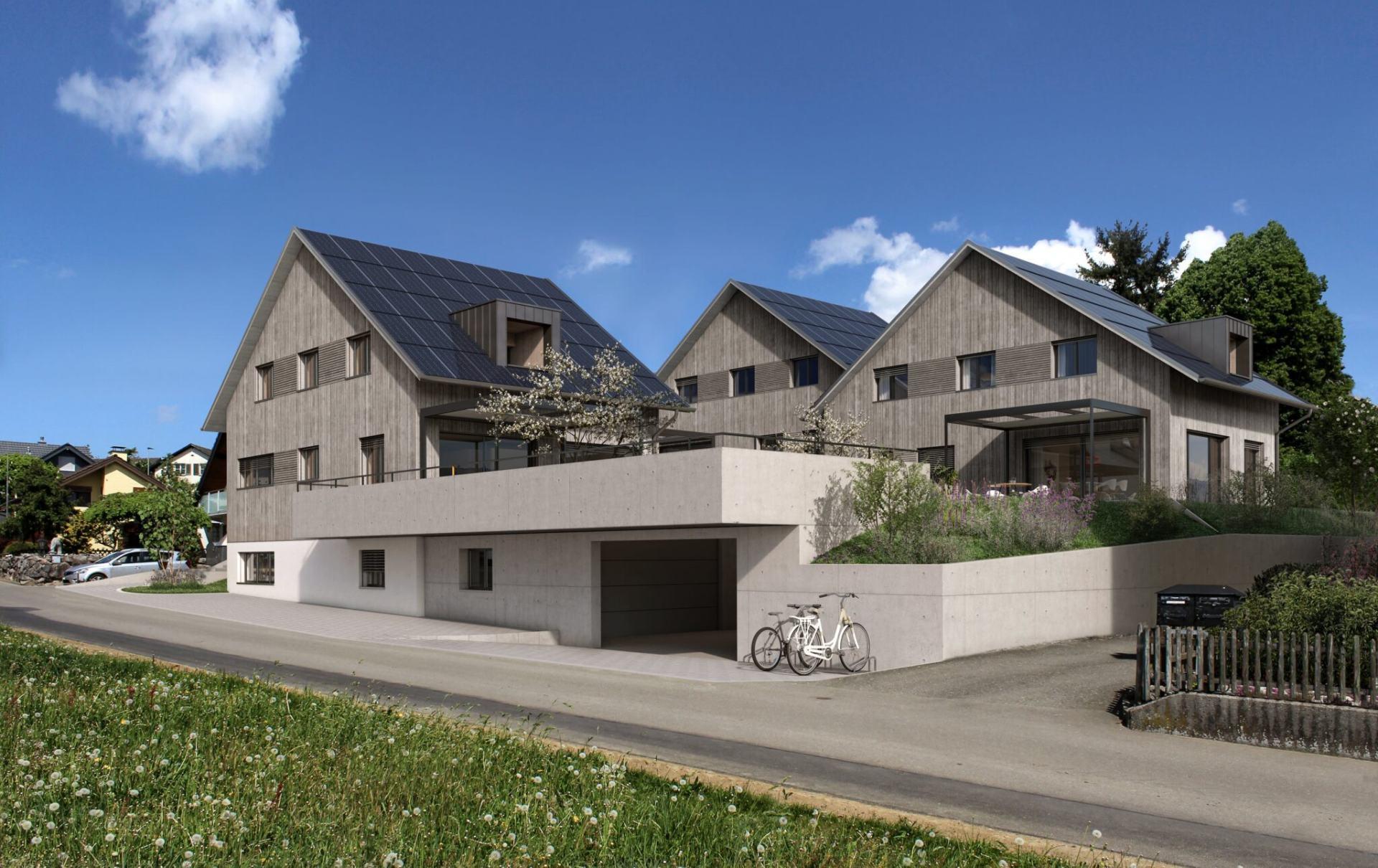 Triple-Solar-Houses, 3 EFH am Moosweg in Bünzen